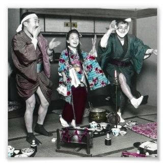Geisha-Party-Zeit auf alten Vintagen Japaner Fotodruck