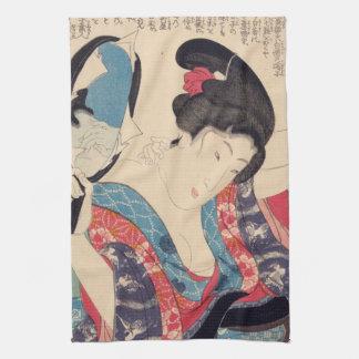 Geisha und Spiegel Geschirrtuch