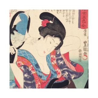 Geisha und Spiegel Leinwanddruck