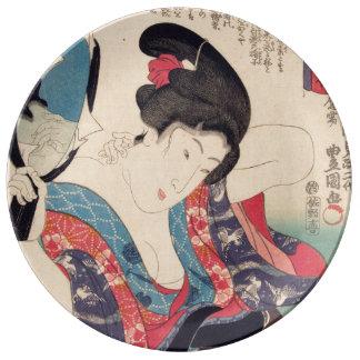 Geisha und Spiegel Porzellanteller