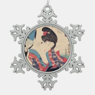 Geisha und Spiegel Schneeflocken Zinn-Ornament