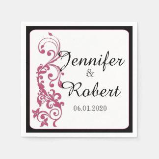 Geißblatt-Rosa-gerundete Ecken-Hochzeits-Serviette Papierserviette