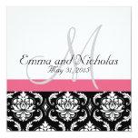 Geißblatt-rosa Monogramm-Hochzeits-Einladung Quadratische 13,3 Cm Einladungskarte
