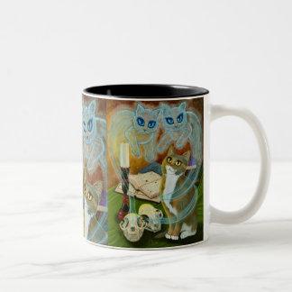 Geist-Katzen-magische Zauber-Hexe-Kunst-Tasse Zweifarbige Tasse