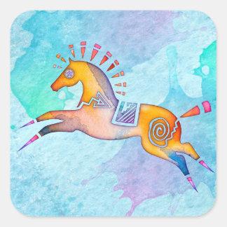 Geist-Pony-Tiertotem-Aufkleber Quadratischer Aufkleber