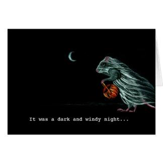 Geist-Ratte auf windiger Halloween-Nachtanmerkungs Grußkarten
