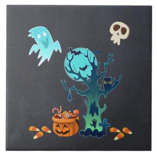 Geist-Schläger-Schädel u. Süßigkeit Halloweens Keramikfliese