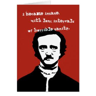 Geisteskranke Zitat-Silhouette Edgar Allan Poe Karte