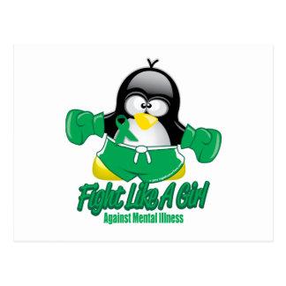 Geisteskrankheits-kämpfender Pinguin Postkarte