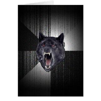 Geisteskrankheits-Wolf Meme lustiger Memes Grußkarte