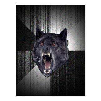 Geisteskrankheits-Wolf Meme lustiger Memes Postkarte