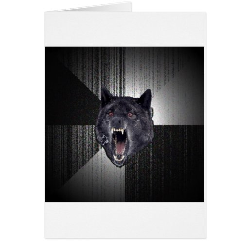 Geisteskrankheits-Wolf-Ratetier Meme Grußkarte