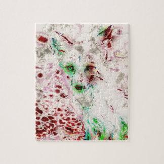 GeistFox mustert abstraktes Kunst-Rot und Weiß Puzzle