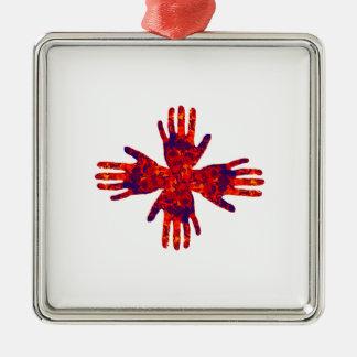 Geistige Schwergängigkeiten Quadratisches Silberfarbenes Ornament