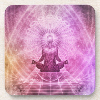 Geistiger Yoga-Meditations-Zen bunt Getränkeuntersetzer