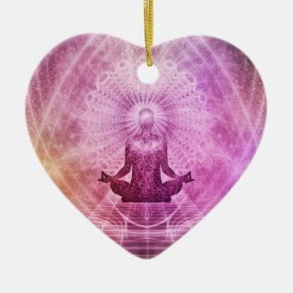 Geistiger Yoga-Meditations-Zen bunt Keramik Ornament