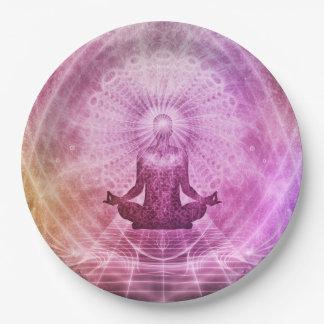 Geistiger Yoga-Meditations-Zen bunt Pappteller