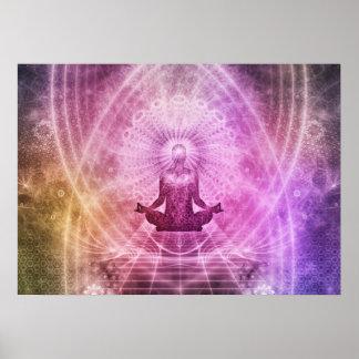 Geistiger Yoga-Meditations-Zen bunt Poster