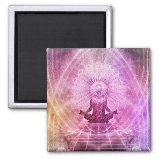 Geistiger Yoga-Meditations-Zen bunt Quadratischer Magnet