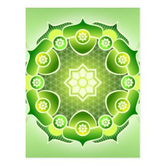 Geistiges abstraktes grünes Mandala-Herz Chakra Postkarte
