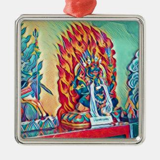 Geistiges Feuer Quadratisches Silberfarbenes Ornament