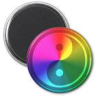 Geistiges Yin Yang - Regenbogen-Entwurf Runder Magnet 5,1 Cm
