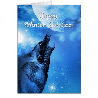Geistwolf-Wintersonnenwendekarte Grußkarte