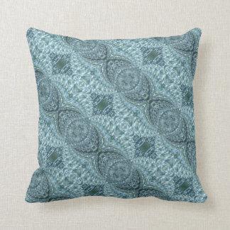 Geknisterter Glasstrudel-Entwurf - blauer Kissen
