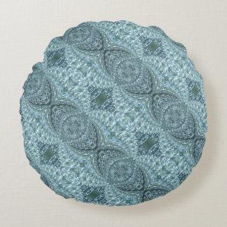Geknisterter Glasstrudel-Entwurf - blauer Rundes Kissen