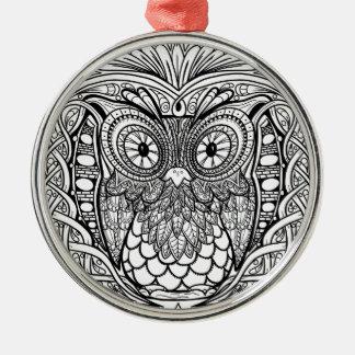Geknotete Mandala-Eule Schwarzweiss Silbernes Ornament