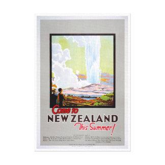 Gekommen zum Vintagen Reise-Plakat Neuseelands Leinwanddruck