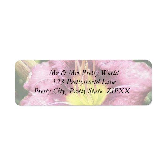 Gekräuselte rosa Taglilie Rücksendeetikett