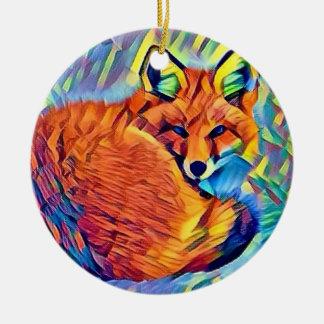 Gekräuselter oben Fox Rundes Keramik Ornament