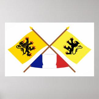Gekreuzte Flaggen des Nord-Pas-de-Calais und des N Poster