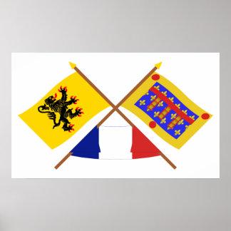 Gekreuzte Flaggen, Nord-Pas-de-Calais u. Pas-de-Ca Poster