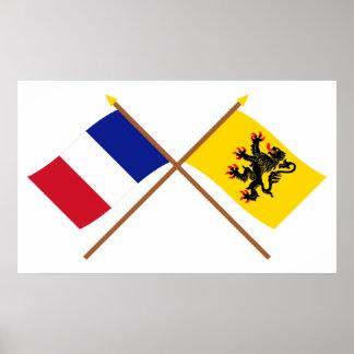Gekreuzte Flaggen von Frankreich und von Nord-Pas- Plakat