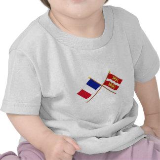 Gekreuzte Flaggen von Frankreich und von Seine-mar Hemd