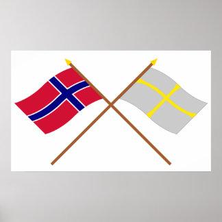 Gekreuzte Flaggen von Norwegen und von Nord-Trønde Plakat