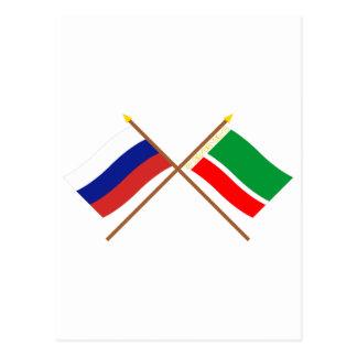 Gekreuzte Flaggen von Russland und von Postkarten