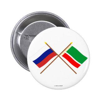 Gekreuzte Flaggen von Russland und von Runder Button 5,7 Cm
