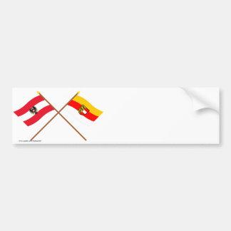 Gekreuzte Österreich- und Kärntenflaggen Autoaufkleber