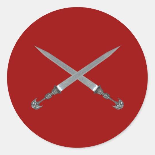gekreuzte Schwerter crossed swords Runder Aufkleber