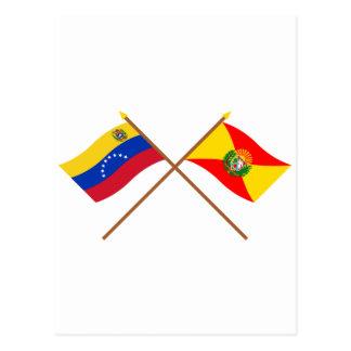 Gekreuzte Venezuela- und Araguaflaggen Postkarte