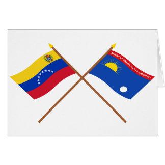 Gekreuzte Venezuela- und Falcónflaggen Karte