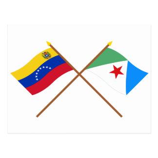 Gekreuzte Venezuela- und Méridaflaggen Postkarte
