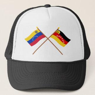 Gekreuzte Venezuela- und Mirandaflaggen Truckerkappe