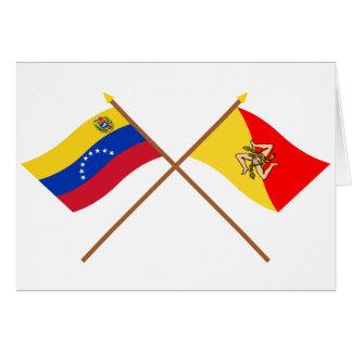 Gekreuzte Venezuela- und Sizilien-Flaggen Karte