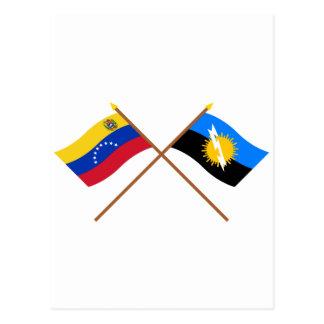 Gekreuzte Venezuela- und Zuliaflaggen Postkarte