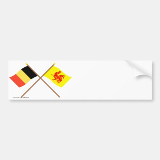 Gekreuztes Belgien und wallonische Regions-Flaggen Autosticker