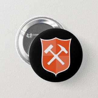 Gekreuztes Felsen-Hammer-Schild Runder Button 5,1 Cm